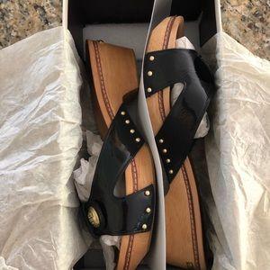 Coach Black Patent Slip On Sandals size 9.5